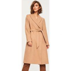 Płaszcz z wełną - Beżowy. Brązowe płaszcze damskie pastelowe Reserved, z wełny. Za 349,99 zł.