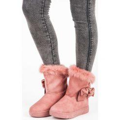 ELSIE śniegowce z kokardką różowe. Białe buty zimowe damskie marki Merg. Za 76,90 zł.