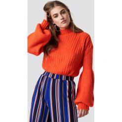 Trendyol Sweter z bufiastym rękawem - Orange. Pomarańczowe swetry klasyczne damskie marki Trendyol, z dzianiny. Za 80,95 zł.
