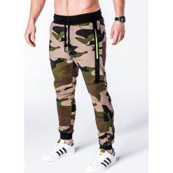 SPODNIE MĘSKIE DRESOWE P636 - ZIELONE/MORO. Zielone spodnie dresowe męskie Ombre Clothing, moro, z bawełny. Za 49,00 zł.