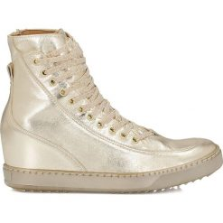 Złote sneakersy damskie. Białe sneakersy damskie marki Kazar, ze skóry, na wysokim obcasie, na szpilce. Za 324,00 zł.