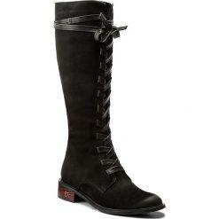 Kozaki CARINII - B4285  360-E50-POL-C58. Czarne buty zimowe damskie marki Carinii, z nubiku, przed kolano, na wysokim obcasie, na obcasie. W wyprzedaży za 309,00 zł.