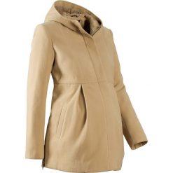 Płaszcz ciążowy z kapturem, z regulacją obwodu bonprix beżowy. Brązowe kurtki ciążowe bonprix, na jesień. Za 124,99 zł.