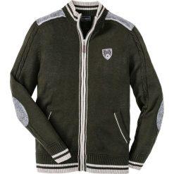 Sweter rozpinany w ludowym stylu Regular Fit bonprix nocny oliwkowy. Zielone kardigany męskie marki bonprix, l, z aplikacjami. Za 59,99 zł.