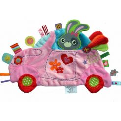 Przytulanki i maskotki: Label Label – Holiday Kocyk przytulanka z metkami Samochód różowy, doudou