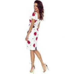 Solana wygodna sukienka dzienna BIAŁA W CZERWONE KWIATY. Czerwone sukienki marki Bergamo, w kwiaty. Za 209,99 zł.
