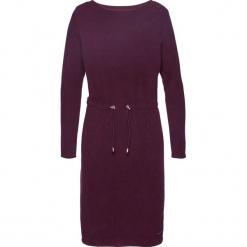 Sukienka z polaru bonprix czarny bez. Fioletowe sukienki z falbanami marki bonprix, z polaru, z dekoltem w łódkę. Za 54,99 zł.