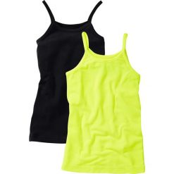 Top (2 szt.) bonprix żółty neonowy + czarny. Niebieskie bluzki dziewczęce marki bonprix, z nadrukiem. Za 29,98 zł.