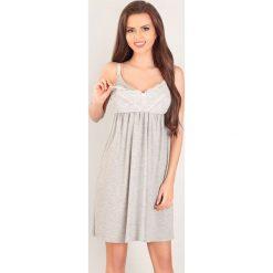 Koszula nocna dla ciężarnych i karmiących Holly. Szare bielizna ciążowa marki Astratex, w koronkowe wzory, z bawełny. Za 128,99 zł.