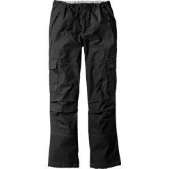 Spodnie bojówki Loose Fit Straight bonprix czarny. Czarne bojówki męskie bonprix, w paski. Za 79,99 zł.