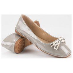 Baleriny damskie lakierowane: IDEAL SHOES szare lakierowane balerinki odcienie szarości i srebra