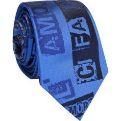 Krawat jedwabny KWNR009004. Niebieskie krawaty męskie Giacomo Conti, z nadrukiem, z jedwabiu. Za 169,00 zł.