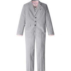 Garnitur + koszula + krawat (4 części) bonprix dymny szary - biały w paski + jasnoróżowy. Białe bluzki dziewczęce w paski marki bonprix, z klasycznym kołnierzykiem, z długim rękawem. Za 199,99 zł.