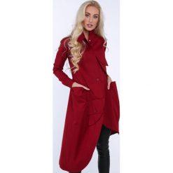 Bordowa asymetryczna sukienka koszulowa na co dzień 0222. Czerwone sukienki asymetryczne Fasardi, na co dzień, s, z asymetrycznym kołnierzem. Za 199,00 zł.