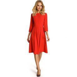 FLEURETTE Sukienka z kontrafałdami na przodzie - czerwona. Czerwone sukienki mini Moe, z krótkim rękawem. Za 129,99 zł.