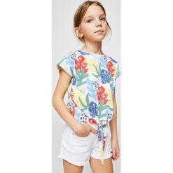 Mango Kids - Top dziecięcy Bigh 110-164 cm. Szare bluzki dziewczęce Mango Kids, z bawełny, z okrągłym kołnierzem. Za 35,90 zł.