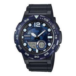 Biżuteria i zegarki męskie: Zegarek Casio Męski AEQ-100W-2AVEF DataBank granatowo-czarny