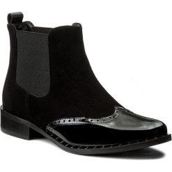 Sztyblety R.POLAŃSKI - 0881 Czarny Zamsz/Czarny Lakier. Czarne buty zimowe damskie marki R.Polański, ze skóry, na obcasie. W wyprzedaży za 249,00 zł.