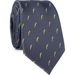Krawat w błyskawice  KWSR001674. Żółte krawaty męskie Giacomo Conti, z tkaniny. Za 69,00 zł.