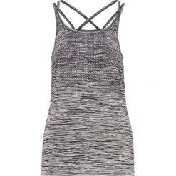 Nike Performance DRIFIT KNIT Koszulka sportowa black/heather/silver. Brązowe topy sportowe damskie marki N/A, w kolorowe wzory. W wyprzedaży za 167,30 zł.