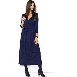 Granatowa Długa Sukienka z Kopertowym Dekoltem. Niebieskie długie sukienki marki Molly.pl, l, z kopertowym dekoltem, z długim rękawem, dopasowane. Za 117,90 zł.