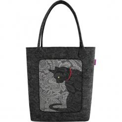 """Torebka """"Swing"""" w kolorze szarym - (S)33 x (W)37 x (G)10 cm. Szare torebki klasyczne damskie Bertoni, z materiału. W wyprzedaży za 53,95 zł."""