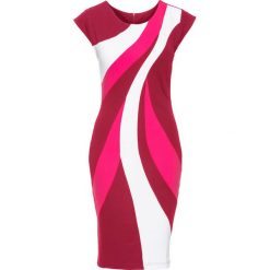 Sukienki: Sukienka kolorowa bonprix różowo-biało-jeżynowy