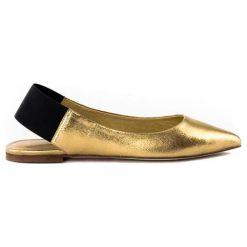 Baleriny damskie: Skórzane baleriny w kolorze złotym