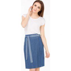 Spódniczki: Prążkowana spódnica z paskiem