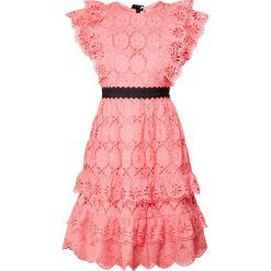 1f89d6a971 PERSEVERANCE LONDON CLOVER EMBROIDERY ANGLAISE RUFFLED Sukienka koktajlowa  coral pink. Czerwone sukienki damskie marki PERSEVERANCE