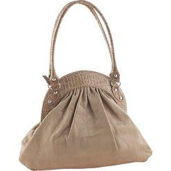 Torebki klasyczne damskie: Skórzana torebka w kolorze szarobrązowym – 42 x 34 x 9 cm