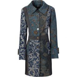 Płaszcz w żakardowy wzór bonprix niebiesko-kolorowy. Niebieskie płaszcze damskie pastelowe bonprix, w kolorowe wzory, z materiału. Za 299,99 zł.