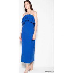 Sukienka VT089 niebieski. Niebieskie długie sukienki Pakamera, na imprezę, z materiału, eleganckie, z falbankami. Za 189,00 zł.