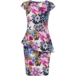 Sukienki: Sukienka w kwiatowy deseń bonprix kremowo-ciemnoniebiesko-lila w kwiaty