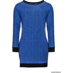Sukienka typu bluza z kieszeniami a'la jeans. Niebieskie sukienki na komunię marki bonprix, na spacer, na lato, w koronkowe wzory, z bawełny, dopasowane. Za 99,00 zł.