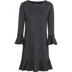 Elastyczna sukienka żakardowa bonprix czarno-antracytowy w kratę. Czarne sukienki rozkloszowane marki bonprix, z żakardem. Za 79,99 zł.