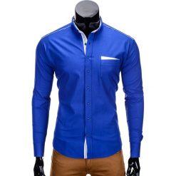 KOSZULA MĘSKA Z DŁUGIM RĘKAWEM K207 - NIEBIESKA. Niebieskie koszule męskie na spinki Ombre Clothing, m, z bawełny, z klasycznym kołnierzykiem, z długim rękawem. Za 69,00 zł.