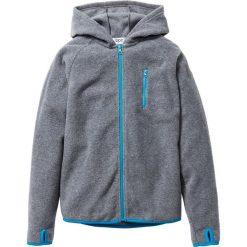 Bluzy chłopięce: Bluza z polaru z kontrastowymi elementami bonprix szary melanż - turkusowy