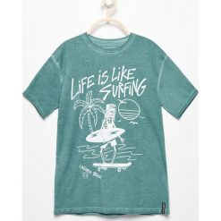 T-shirty chłopięce: T-shirt life is like surfing – Turkusowy
