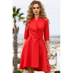 Sukienki: Sukienka na zakładkę z wiązaniem – czerwona