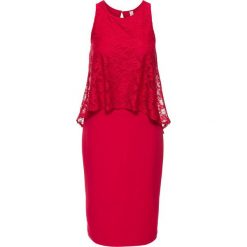 Sukienka z koronką bonprix magenta. Białe sukienki balowe marki bonprix, z koronki, moda ciążowa. Za 59,99 zł.