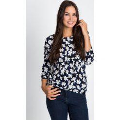 Bluzki asymetryczne: Granatowa bluzka bombka w kwiaty QUIOSQUE