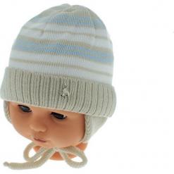 Czapka niemowlęca podszyta bawełną cz-059B. Szare czapeczki niemowlęce Proman, z bawełny. Za 29,56 zł.