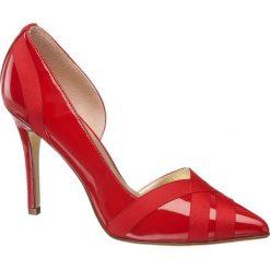 Szpilki damskie Graceland czerwone. Czarne szpilki marki Graceland, w kolorowe wzory, z materiału. Za 99,90 zł.