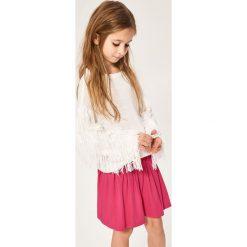 Swetry dziewczęce: Sweter z frędzlami na rękawach - Biały