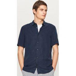 Koszula z lyocellu - Granatowy. Białe koszule męskie marki Reserved, l, z dzianiny. Za 99,99 zł.