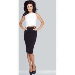 Spódniczki: Czarna Spódnica Ołówkowa Midi z Wysokim Stanem