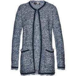 Płaszcze damskie: Płaszcz dzianinowy bonprix ciemnoniebiesko-biały