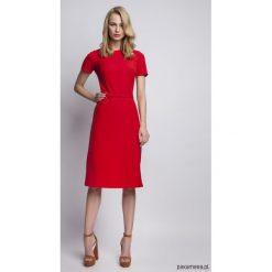 SUKIENKA Z KRÓTKIM RĘKAWEM, SUK128 czerwony. Niebieskie sukienki mini marki Pakamera, z bawełny. Za 183,00 zł.