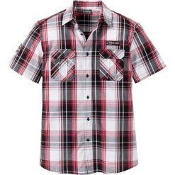 Koszule męskie na spinki: Koszula z krótkim rękawem Slim Fit bonprix czarno-biało-ciemnoczerwony w kratę